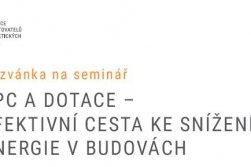 Pozvánka na seminář o modernizaci budov a úspor energie bez investic díky EPC a OPŽP